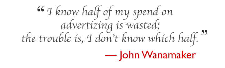 I know half of my spend on advertizing is wasted;   the trouble is, I don't know which half. --- John Wanamaker